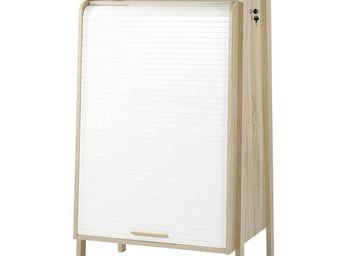 WHITE LABEL - armoire informatique à rideau - arkos n°5 - l 77 x - Armoire De Bureau