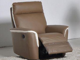 WHITE LABEL - fauteuil relax électrique cuir - romy - l 93 x l 9 - Fauteuil De Relaxation
