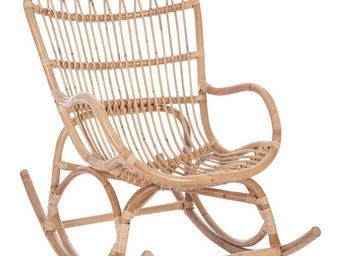 WHITE LABEL - rocking chair rotin naturel - ricky - l 110 x l 66 - Rocking Chair