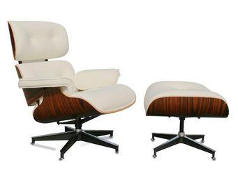 WHITE LABEL - fauteuil cuir blanc/bois - evans - l 79 x l 81 x h - Fauteuil Et Pouf
