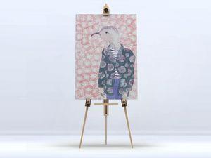 la Magie dans l'Image - toile mon petit oiseau fond rose - Impression Numérique Sur Toile