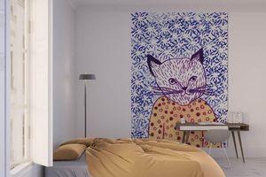 la Magie dans l'Image - grande fresque murale mon petit chat fond bleu - Papier Peint Panoramique