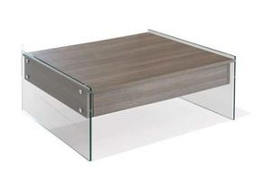 WHITE LABEL - table basse relevable bella coloris orme piétement - Table Basse Relevable
