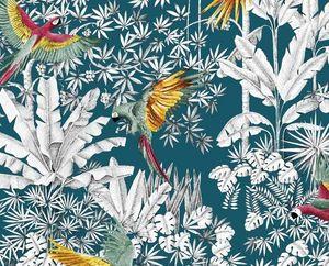 THEVENON - perroquets mania - Tissu Imprimé
