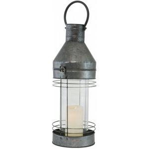 CHEMIN DE CAMPAGNE - lanterne tempête en fer métal zinc 59 cm - Lanterne D'intérieur