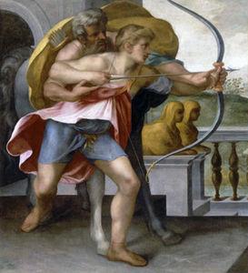 Art Vertical - antiquit�: hercule archer achille chiron - Reproduction De Tableau � La Main