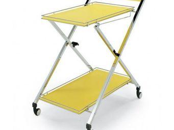 Wesco - desserte roulante pliable jaune - Table Roulante