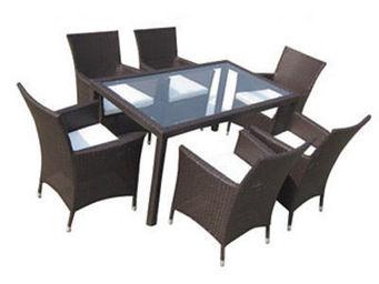 UsiRama.com - fami table et 6 fauteuils marron en résine tressée - Table De Jardin