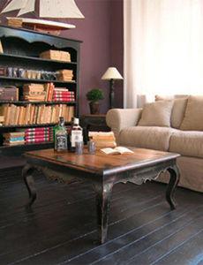 BLEU PROVENCE - vintage noir - Table Basse Carrée