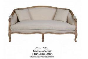 DECO PRIVE - sofa de style en bois naturel et tissu lin aristid - Canapé 2 Places
