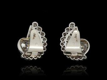 Expertissim - paire de boucles d'oreilles en platine et or, pa - Boucles D'oreilles
