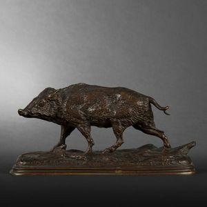 Expertissim - sanglier en bronze par delabrière - Sculpture Animalière