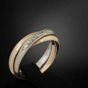 Expertissim - alliance en or trois tons et petits diamants - Bague