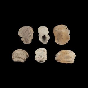 Expertissim - trois t�tes de statuettes en c�ramique - Objet D'art Pr�colombien