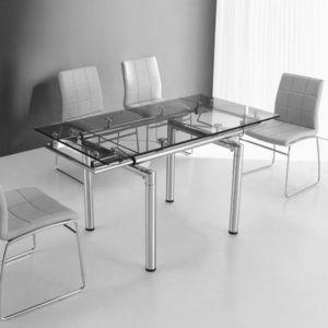 Smart Boutique Design - table en verre a rallonge extensible 145/100 x 75  - Table De Repas Rectangulaire