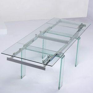 Smart Boutique Design - table en verre transparent à rallonge extensible d - Table De Repas Rectangulaire