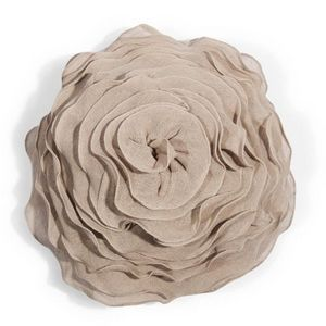 Maisons du monde - coussin rose lin - Coussin Rond