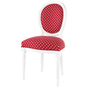 Maisons du monde - chaise rouge à pois blancs louis - Chaise Médaillon