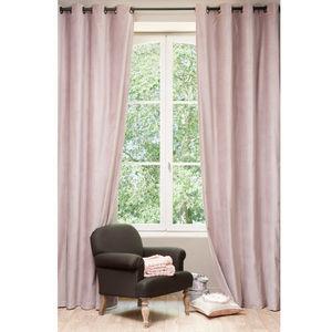 Maisons du monde - rideau velours rose perle - Rideaux À Oeillets