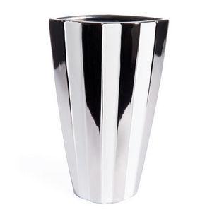 Maisons du monde - vase rayé blanc argent - Vase À Fleurs