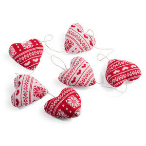 MAISONS DU MONDE - guirlande 6 coeurs tricot rouge - Guirlande