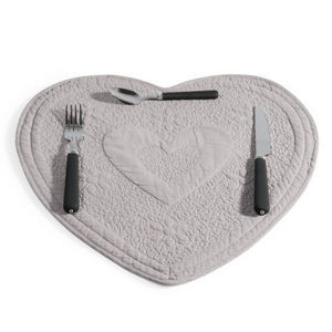 Maisons du monde - set de table matelassé coeur gris - Set De Table