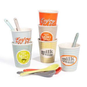 Maisons du monde - coffret 6 tasses et cuillères à café sixties - Tasse À Café