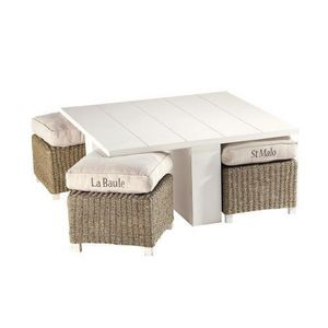 Maisons du monde - table basse et ses 4 tabourets newport - Table Basse Rectangulaire