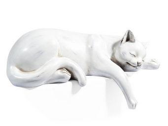 Maisons du monde - chat dormeur blanc - Sculpture Animalière