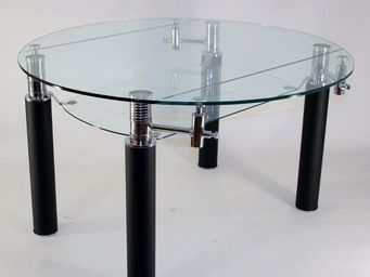 CLEAR SEAT - table en verre ronde à rallonge extensible nero ø  - Table De Repas Ronde