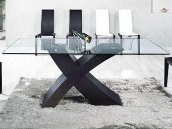 CLEAR SEAT - table en verre mix pied noir 150 x 90cm - Table De Repas Rectangulaire