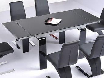 CLEAR SEAT - table en verre noire à rallonge extensible jazz - Table De Repas Rectangulaire