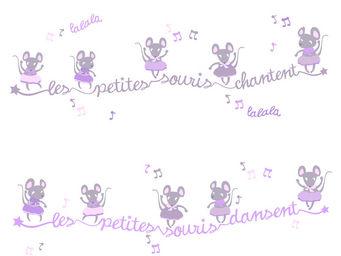 LILI POUCE - kit de stickers frises les souris dansent - Sticker D�cor Adh�sif Enfant