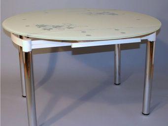 CLEAR SEAT - table ronde en verre extensible blanc cassé grazia - Table De Repas Ronde