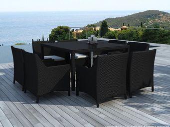 BARCLER - salon de jardin 8 places table et fauteuils en rés - Salon De Jardin