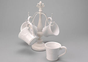 Amadeus - rack 4 mugs en céramique blanche - Porte Tasses