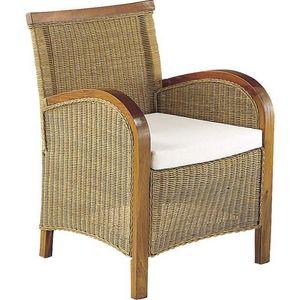 Aubry-Gaspard - fauteuil sumatra en moelle de rotin et acajou tein - Fauteuil De Jardin