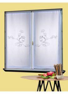HOMEMAISON.COM - paire de vitrage en étamine brodée oiseaux tourter - Voilage