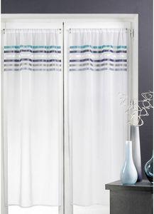HOMEMAISON.COM - paire de voilages en étamine rayures horizontales - Voilage
