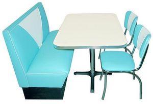 US Connection - set diner : banquette et chaises aqua - Coin Repas