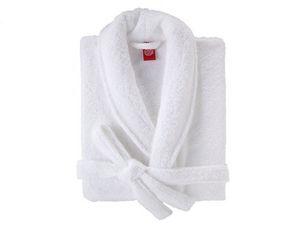 BLANC CERISE - peignoir col châle - coton peigné 450 g/m² blanc - Peignoir De Bain