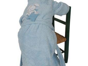SIRETEX - SENSEI - peignoir enfant brodé doudou rabbit bleu - Peignoir Enfant