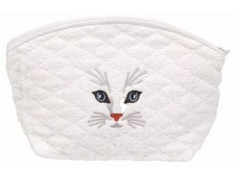 SIRETEX - SENSEI - trousse eponge brodé tête de chat 420gr/m² coton - Trousse De Maquillage