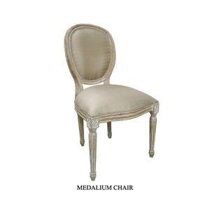 DECO PRIVE - chaise medaillon en bois ceruse - Chaise