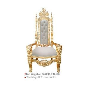 DECO PRIVE - fauteuil baroque de luxe modele lion en bois dore - Fauteuil