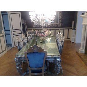 DECO PRIVE - table de salle a manger baroque en bois argente - Table De Repas Rectangulaire