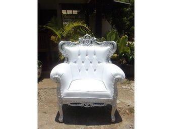 DECO PRIVE - fauteuil blanc et bois argente modele : romeo - Fauteuil