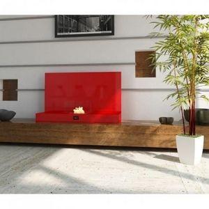 WHITE LABEL - chemine thanol deco design rouge laque - Cheminée Sans Conduit D'évacuation