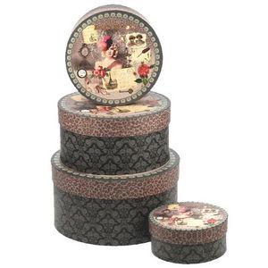 WHITE LABEL - 4 boîtes rondes vintage choco en carton motif glam - Boite De Rangement