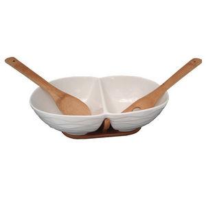 WHITE LABEL - plat 2 espaces en porcelaine sur support en bambou - Saladier